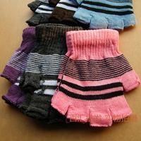Stripe semi-finger gloves autumn and winter women's gloves thermal women's female thickening