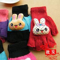 Cartoon rabbit head semi-finger gloves adult women's child gloves thickening thermal gloves