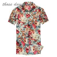 Free shipping men's hair stylist retro men's short-sleeved shirt dress flowers