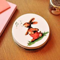 Free shipping 2pcs/lot Little Rabbit Round Tin Box Storage Box Zakka Tin Box for Sundries Gift Candy Box