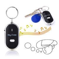 Whistle Sound Control LED Key Finder Locator Anti-Lost Keys Chain Keychain - Black