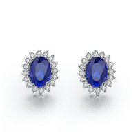 Wholesale - Fantastic blue synthetic diamond wedding engagement women stud earrings vintage bridal jewelry