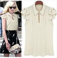 8235#New Arrival Spring Summer 2014 Europe America Chiffon Slim Blouse Peter Pan Collar Butterfly Sleeve Wild Comfort Shirt