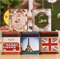 Free shipping 5pcs/lot 2014 NEW Tea$Coffee box vintage small tin box Storage Jars for tea 7.5x7.55x9cm