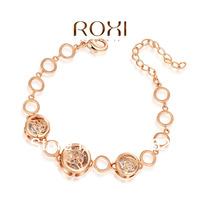 new2014Austrian crystal rose gold hollow out three  bracelet ,bracelets & bangles 1set/lot free shipping