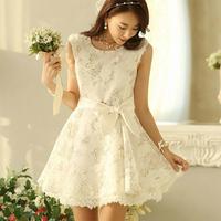 2014 Summer Women New Sweet Lace Bowknot Slim Tank Dress Fashion Elegant Round Neck Prined Princess Dress