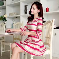 2014 Spring and Summer Women Elegant Gentlewomen Three Quarter Sleeve Organza Dress Fashion Stripe Slim Princess Dress