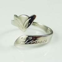 TR04 / Fire Fox Ring White Gold Plated Free Shipping