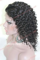 "14"" 35cm Micro Tight Curly 100% Indian Remi Human Hair Black Lace Wig Full Lace / Lace Front / Glue less Cap #1B Shoulder Length"