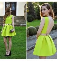 2014 fashion Neon cute dress, belt dress, pleated sexy dress, Skater neon green yellow, bandage dress nightclub
