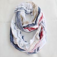 Fashion style Europe new spring autumn neckerchief scarf Ring white striped red blue scarves Undershirt cloth cotton men women