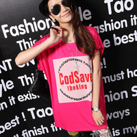 Free shipping 2014 spring and summer batwing sleeve medium-long loose plus size clothing short-sleeve T-shirt female