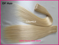Grade 5A 100% Remy Human Hair Extension Straight Free Shipping Skin Weft 50g/piece 18-19inch Color #613 Brazilian Hair Weaving