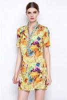 Vintage Floral Print Silk Dress-1894/2014 New Spring & Summer Dress