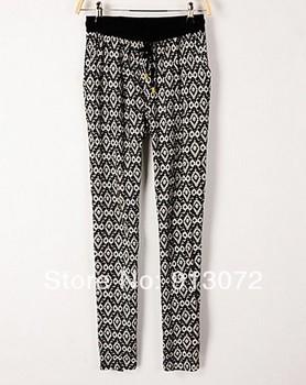 KZ317 New Fashion women's Elegant geometry print harem pants trouses elastic waist pencil pants casual slim brand designer pants