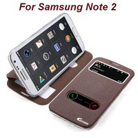 New Brand Original guoer view double window open flip leather stand Oracle case for Samsung Note2 II N7100 screen protector