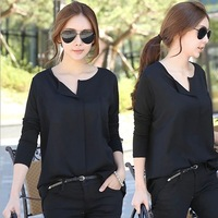 Black female shirt free shippi 2014 spring women's long-sleeve casual loose shirt plus size chiffon collarless shirt basic shirt