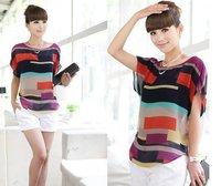 2014 New Women Blouse Shirt Multi-Colour Print Stripe Loose Short Sleeve Chiffon Shirt Brand casual Plus Size Summer Blouse XXXL