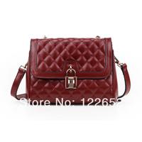 2014 women's genuine leather handbag fashion small cowhide plaid one shoulder cross-body women's small bags free shipping