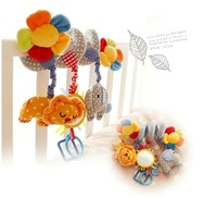 Candice guo! newest arrival warm flower elephant lion bed round baby toy rattle gift BB device safe mirror 1pc