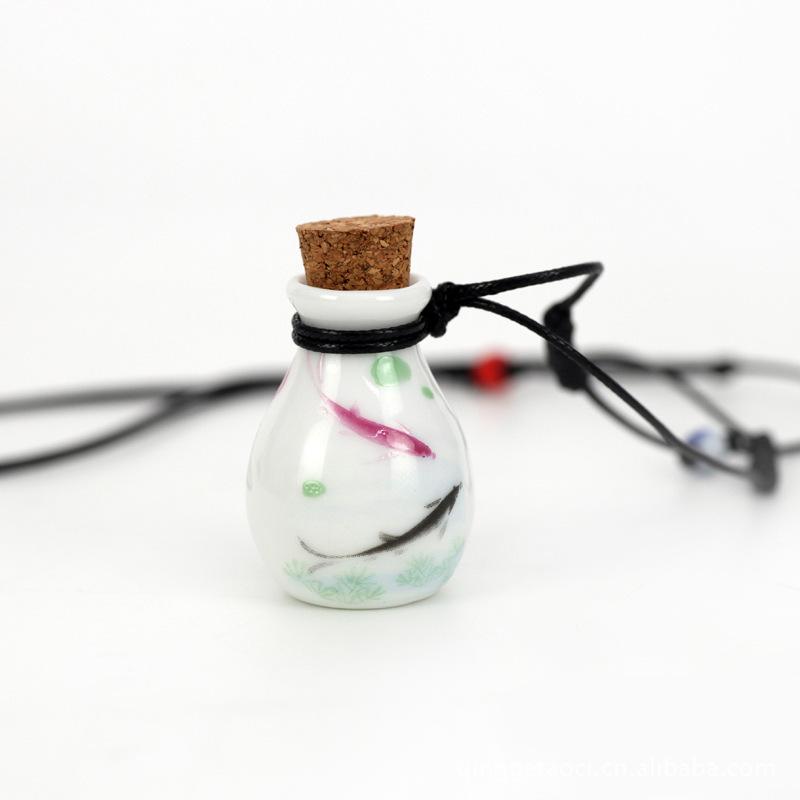 2014 Personalized Fashion Double Face Lotus Pond Painting Empty Perfume Bottle Porcelain Sweater Ceramic Pendant Necklace N2073(China (Mainland))