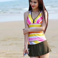 Chuanwei 2014 tide the poem split skirt swimwear sports type hot spring swimsuit young girl swimwear