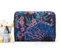 H1400 EE Peacock Blue Floral top zipper cosmetic case wash bag FREE SHIPPING DROPSHIPPING WHOLESALE