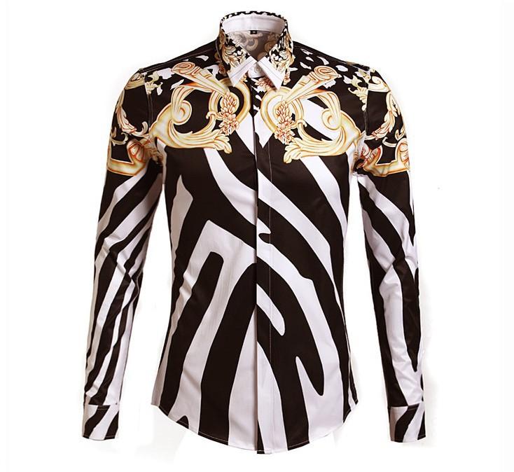 Shirt Tuxedo Print Striped Printed Tide Shirt