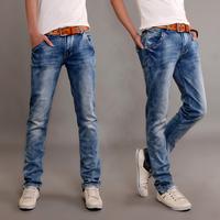 Elastic 2014 men's male clothing male jeans light blue slim print 114