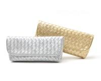 H1356 EE BEAUTIFUL GOLD / SILVER Elegant weave PU Clutch Cosmetic Bag evening bag FREE SHIPPING DROP SHIPPING WHOLESALE