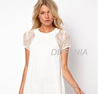 White Lace Dresses 2014 New Summer Elegant Women Chiffon Short Sleeve Dress Patchwork Large Size S M L XL