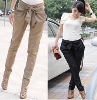 2014 New Style hot sale KNITTING high waist women's Skinny Long Trousers OL casual Bow harem pants plus size Black, Khaki