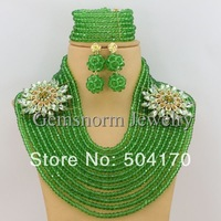 Splendid Costume African Beads Jewelry Set Rhinestone Flower Nigerian Crystal Beads Jewelry Set Free Shipping GS069