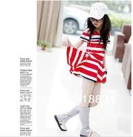 free shipping 2014 New fashion children's summer dress British style striped cotton dress for girls