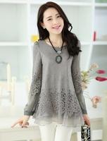 Free shipping!2014 spring top t-shirt female long-sleeve basic shirt medium-long sweet lace slim shirt