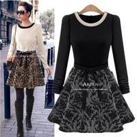 Spring 2014 fashion elegant slim long-sleeve women's basic patchwork one-piece dress