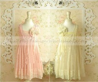 wholesale 2014 Girls summer dresses, Korean High grade girls sleeveless lace pearl Hook Subtle sweet party dress,5 pcs/lot