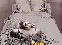 New Hot Beautiful 4PC 100% Cotton Comforter Duvet DOoona Cover Sets FULL / QUEEN / KING SIZE bedding set 4pcs sexy  Monroe