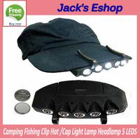 Camping Fishing Clip Hat Cap Light Lamp  5 LEDS Headlamp FREE SHIPPING