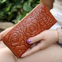 2014 new fashion Genuine Leather women long wallet flower pattern emboss women clutch wallets coin purse free shipping
