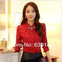 2014 New Fashion spring autumn women blouses clothes Casual  ladies tops plus size Slim Diamond necklace long sleeve shirt