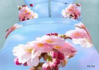New Hot Beautiful 4PC 100% Cotton Comforter Duvet DOoona Cover Sets FULL / QUEEN / KING bedding set 4pcs flower blue pink peach