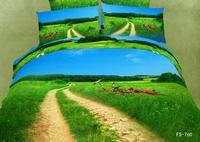 New Hot Beautiful 4PC 100% Cotton Comforter Duvet DOoona Cover Sets FULL / QUEEN / KING bedding set 4pcs flower blue green op2