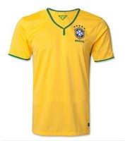 Freeshipping New arrival high quality  Brazil home soccer jersey 2014 World Cup Brazil national team soccer shirt