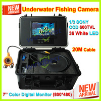 2015 New 7'' Color Digital Screen Underwater Ice Fishing Camera 1/3 SONY CCD 600TVL 20m Cable 36pcs White LEDs ABS Plastic Case