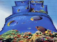 New Hot Beautiful 4PC 100% Cotton Comforter Duvet DOoona Cover Sets FULL / QUEEN / KING bedding set 4pcs animal blue sea world