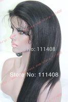"120% Medium Density 18"" 45cm Beauty Yaki Straight #1B100% India Remi  Full Lace / Lace Front / Glue less Cap LACE WIGS"