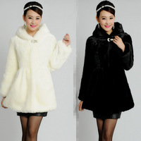 2013 female winter medium-long fur slim outerwear with a hood thickening cold-proof thermal top