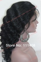 "NEW Fashion Body wave 18"" 45cm Jet Black #1B 100% Indian Remy Human Hair Full Lace / Lace Front / Glueless LACE WIGS Wholesale"