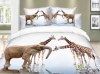 New Hot Beautiful 4PC 100% Cotton Comforter Duvet DOoona Cover Sets FULL / QUEEN / KING bedding set 4pc animal elephant